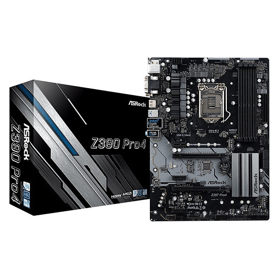 ASRock Z390 Pro4 Intel 1151 ATX VGA/HDMI/DVI-D USB C 3.1 Dual M.2 Motherboard