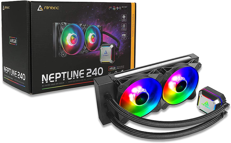 Antec Neptune 240 Liquid CPU Cooler, 240mm Radiator, 12cm PWM ARGB LED Fan