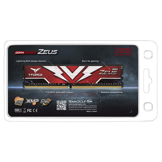 Team T-Force Zeus 16GB Red Heatsink (1 x 16GB) DDR4 3000MHz DIMM System Memory