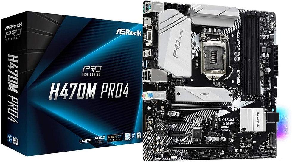 Asrock H470M PRO4, Intel H470, 1200, Micro ATX, 4 DDR4, XFire, VGA, HDMI, DP, RG