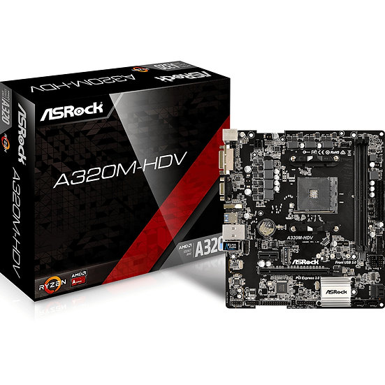 ASRock A320M-HDV R4.0 AMD Socket AM4 Ryzen Micro ATX DDR4 D-Sub/DVI-D/HDMI