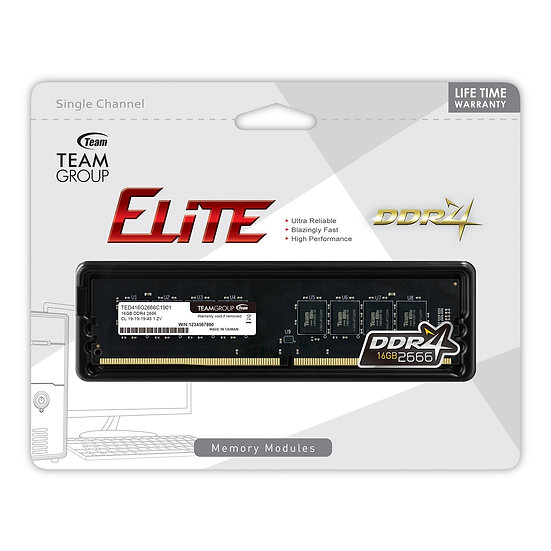 Team ELITE 16GB No Heatsink (1 x 16GB) DDR4 2666MHz DIMM System Memory