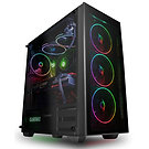 GameMax Crusader Rainbow RGB 3 pin Hub with 4 x Mirage Fans TG Front and Side