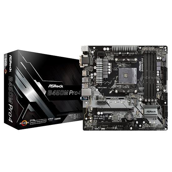 ASRock B450M Pro4 AMD AM4 Micro ATX VGA/DVI-D/HDMI DDR4 USB C 3.1 Motherboard