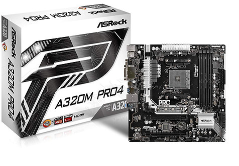 Asrock A320M PRO4, AMD A320, AM4, Micro ATX, 4 DDR4
