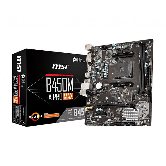 MSI B450M-A PRO MAX AMD AM4 DDR4 VGA/DVI-D Micro ATX M.2 USB 3.2 Motherboard