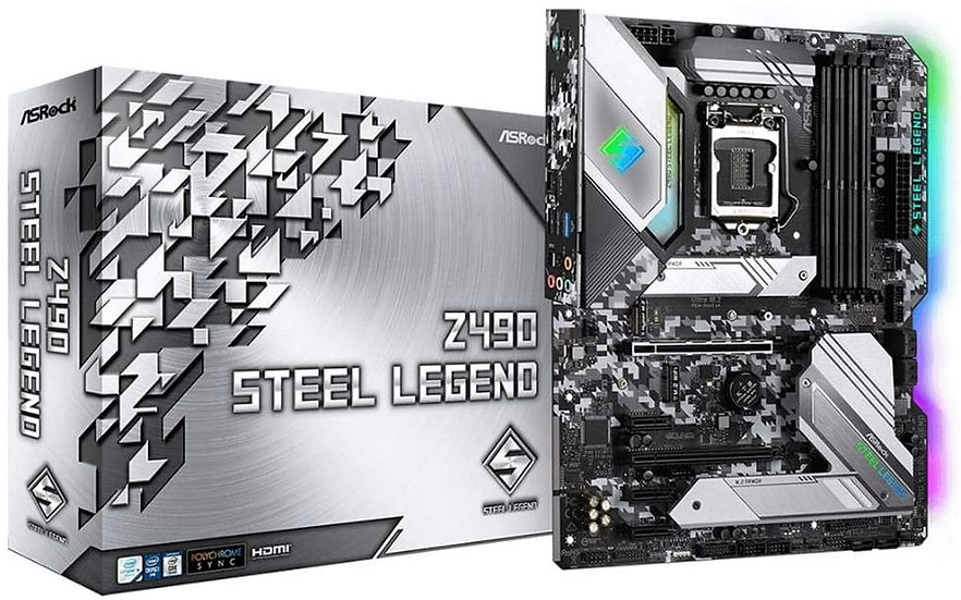 Asrock Z490 STEEL LEGEND, Intel Z490, 1200, ATX, 4 DDR4, XFire, HDMI, DP, 2.5G L