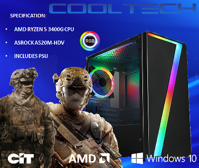 CTBB93 AMD RYZEN 5 3400G BAREBONES PC - NO MEMORY NO HARDDRIVE