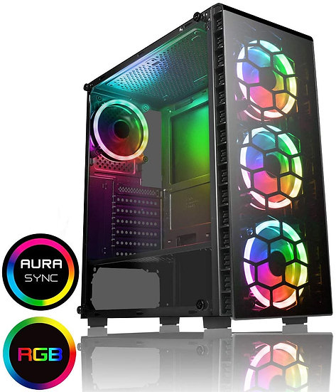 CiT Raider Mid-Tower Gaming Case 4 x Halo Spectrum RGB Fans Tempered Glass Front