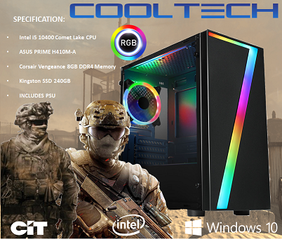 CTG16 Intel i5 10400 Comet Lake with 8GB RAM + 240GB SSD - PRE-BUILT SYSTEM