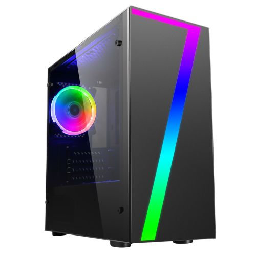 CiT Seven Micro ATX Gaming Case with Window, No PSU, RGB Fan & Front Strip