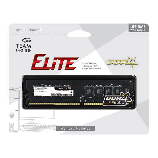 Team Elite 8GB No Heatsink (1 x 8GB) DDR4 2666MHz DIMM System Memory