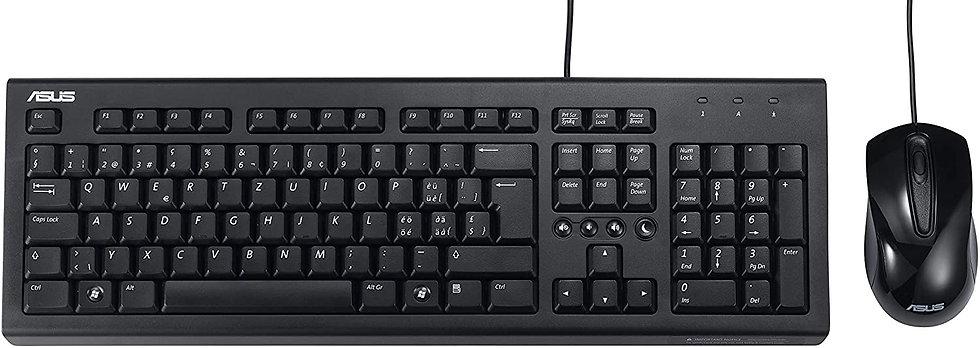 Asus U2000 Wired Keyboard and Mouse Desktop Kit, USB, 1000 DPI, Multimedia