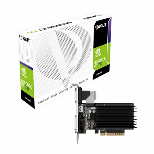 Palit GT710, 1GB DDR3, PCIe2, VGA, DVI, HDMI, 954MHz Clock, Silent, Low Profile