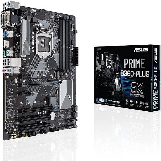 Asus PRIME B360-PLUS, Intel B360, 1151, ATX, DDR4, VGA, DVI, HDMI, XFire, LED