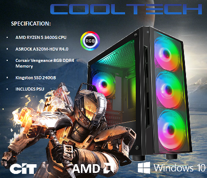 CTG29 AMD RYZEN 5 3400G with 8GB RAM + 240GB SSD - PRE-BUILT SYSTEM