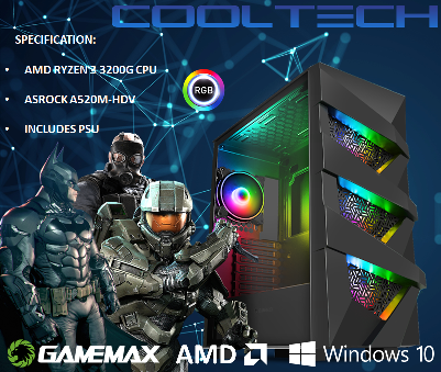 CTBB34 AMD RYZEN 3 3200G BAREBONES PC - NO RAM NO SSD - PRE-BUILT SYSTEM