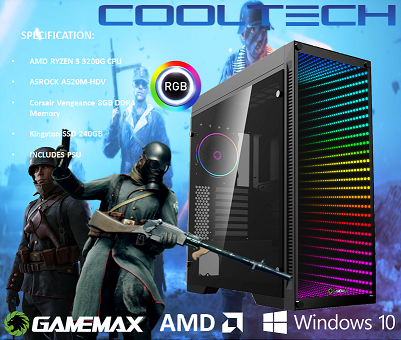 CTG10 AMD RYZEN 3 3200G with 8GB RAM + 240GB SSD - PRE-BUILT SYSTEM