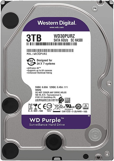 "WD Purple 3TB 3.5"" SATA3 HD CCTV HDD/Hard Drive WD30PURZ"