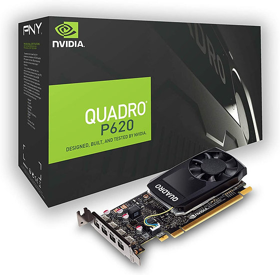 PNY Quadro P620 Professional Graphics Card, 2GB DDR5, 4 miniDP 1.4 (4 x DVI adap