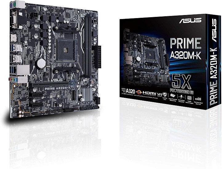 Asus PRIME A320M-K, AMD A320, AM4, Micro ATX, 2 DDR4, VGA, HDMI, RAID, LED