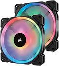 Corsair LL140 14cm PWM RGB Case Fans x2, 16 LED RGB Dual Light Loop, Hydraulic