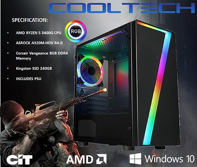 CTG21 AMD RYZEN 5 3400G with 8GB RAM + 240GB SSD - PRE-BUILT SYSTEM