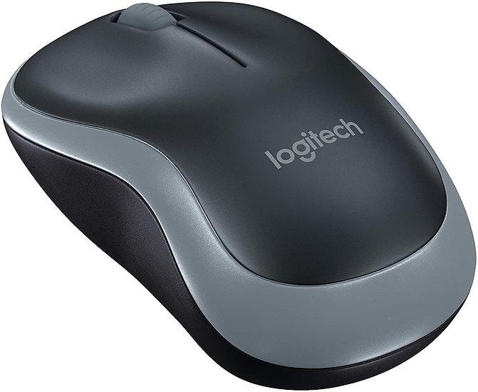 Logitech M185 Wireless Notebook Mouse, USB Nano Receiver, Black/Grey