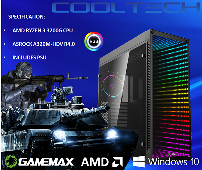 CTBB43 AMD RYZEN 3 3200G BAREBONES PC - NO RAM NO SSD - PRE-BUILT SYSTEM