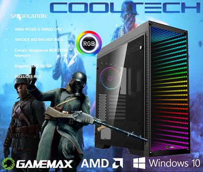 CTG09 AMD RYZEN 5 3400G with 8GB RAM + 240GB SSD - PRE-BUILT SYSTEM