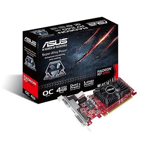 Asus Radeon R7 240, 4GB DDR3, PCIe3, VGA, DVI, HDMI, 820MHz Clock, Low Profile