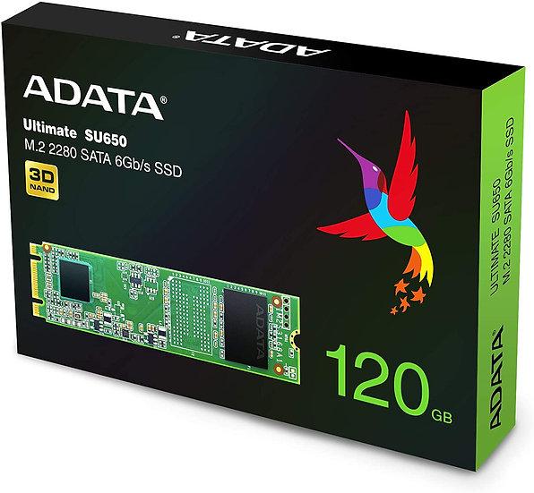 ADATA 120GB Ultimate SU650 M.2 SSD, M.2 2280, SATA3, 3D NAND, R/W 550/410 MB