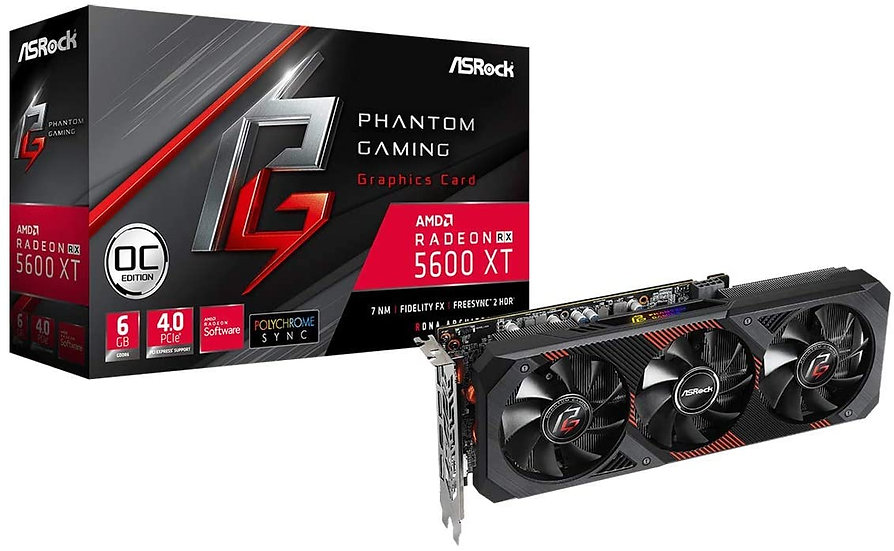 Asrock RX5600 XT Phantom Gaming D3 OC, 6GB DDR6, PCIe4, HDMI, 3 DP,1750MHz Clock