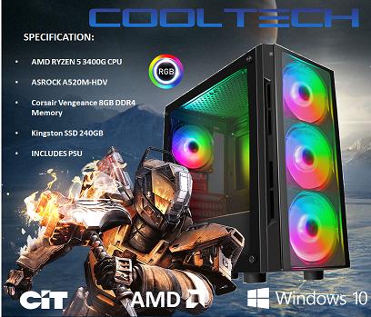 CTG28 AMD RYZEN 5 3400G with 8GB RAM + 240GB SSD - PRE-BUILT SYSTEM