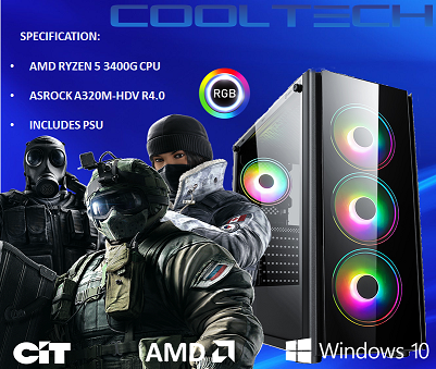 CTBB50 AMD RYZEN 5 3400G BAREBONES PC - NO RAM NO SSD - PRE-BUILT SYSTEM