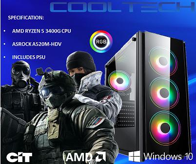 CTBB49 AMD RYZEN 5 3400G BAREBONES PC - NO RAM NO SSD - PRE-BUILT SYSTEM