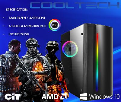 CTBB88  AMD RYZEN 3 3200G BAREBONES PC - NO MEMORY NO HARDDRIVE