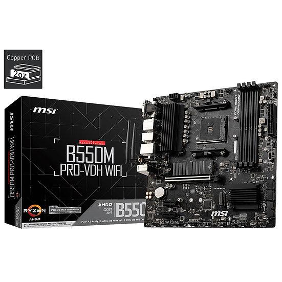MSI B550M PRO-VDH WIFI AMD Socket AM4 Micro ATX HDMI/DVI/VGA Dual M.2 Motherboar