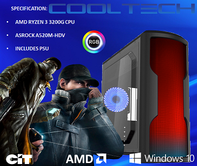 CTBB63 AMD RYZEN 3 3200G BAREBONES PC - NO RAM NO SSD - PRE-BUILT SYSTEM
