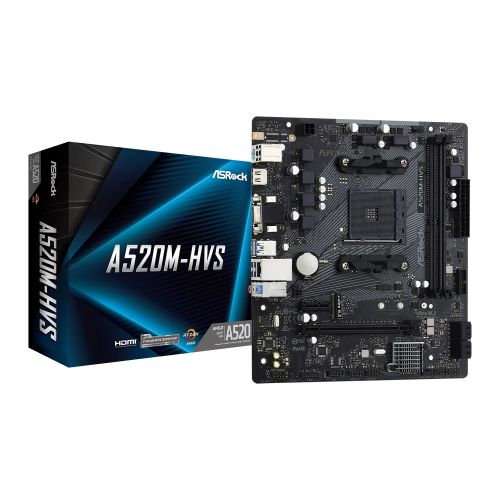 Asrock A520M-HVS, AMD A520, AM4, Micro ATX, 2 DDR4, VGA, HDMI, M.2