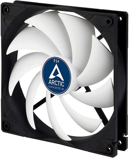 Arctic F14 14cm Case Fan, Black & White, 9 Blades, Fluid Dynamic, 6 Year Warrant