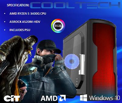 CTBB61 AMD RYZEN 5 3400G BAREBONES PC - NO RAM NO SSD - PRE-BUILT SYSTEM