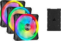 Corsair iCUE QL120 12cm PWM RGB Case Fans x3, 34 ARGB LEDs, Hydraulic Bearing, L