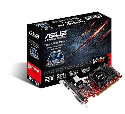Asus Radeon R7 240, 2GB DDR3, PCIe3, VGA, DVI, HDMI, 730MHz Clock, Low Profile