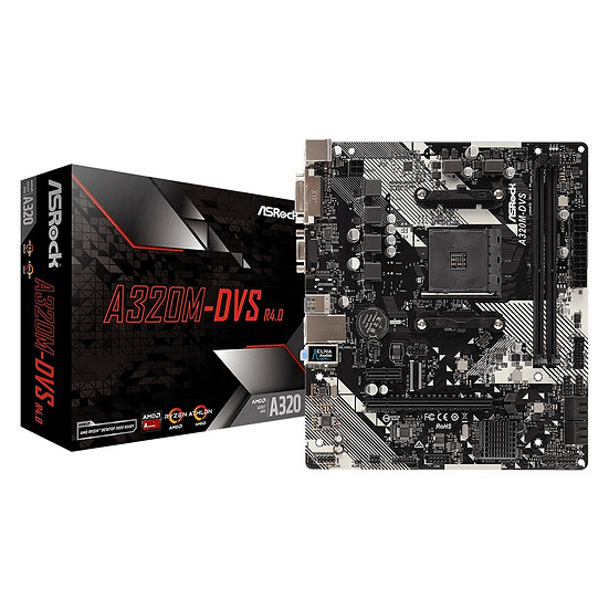 ASRock A320M-DVS R4.0 AMD Socket AM4 DDR4 Micro ATX DVI-D/VGA USB3.1 Motherboard