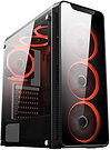 CiT Blaze Mid-Tower Gaming Case With 6 x Single Ring Red Fans Tempered Glass Sid
