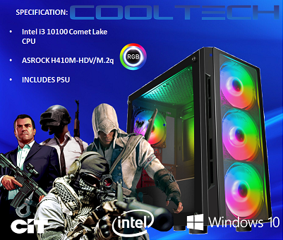 CTBB84 Intel i3 10100 Comet Lake - BAREBONES PC NO RAM NO SSD - PRE-BUILT SYSTEM