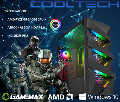 CTBB33 AMD RYZEN 5 3400G BAREBONES PC - NO RAM NO SSD - PRE-BUILT SYSTEM