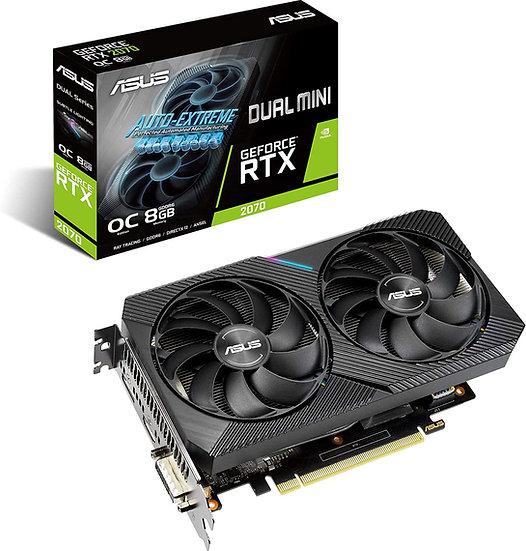 Asus RTX2070 DUAL MINI OC, 8GB DDR6, DVI, HDMI, DP, 1680MHz Clock, Overclocked