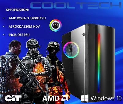 CTBB87 AMD RYZEN 3 3200G BAREBONES PC - NO MEMORY NO HARDDRIVE
